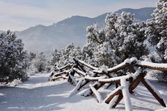 Snow covered trail in Garden of the Gods Royalty Free Stock Image