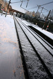 Snow covered train platform Stock Photo
