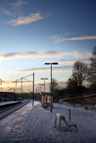 Snow covered train platform Royalty Free Stock Images