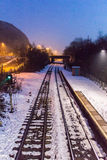 Snow Covered Train Station Royalty Free Stock Images