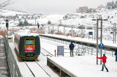 Snow-covered train station in Jerusalem. Stock Image