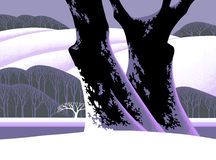 Snow Covered Tree. Stylized version of a winter landscape. / SN-030 royalty free illustration