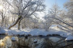 Amazing winter scenery.Landscape with flowing river. stock photo