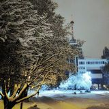Snow covered trees and building. Snow-covered trees in the background industrial building Royalty Free Stock Photography