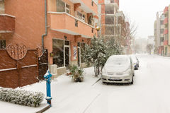 Snow covered trees and cars in Pomorie, Bulgaria, 31 december Stock Images
