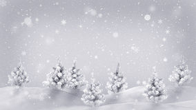 Snow covered trees christmas illustration Royalty Free Stock Photography