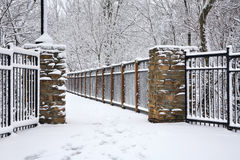 Foot Bridge In Winter Royalty Free Stock Image