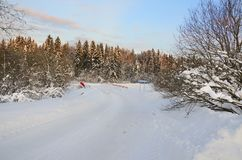 Winter snowy road with bridge passing through spruce forest in a sunny frosty morning. royalty free stock photos