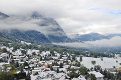 Snow covered valley in Liechtenstein Stock Images