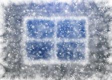 Snow-covered venster Royalty-vrije Stock Foto's