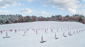 Snow-covered Veteran Cemetery. With American Flags Stock Photos
