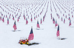 Snow-Covered Veteran Cemetery with American Flags Royalty Free Stock Photos