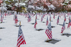 Snow-covered Veteran Cemetery Royalty Free Stock Photography