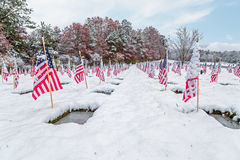 Snow-covered Veteran Cemetery with Flags Royalty Free Stock Image