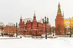 Snow-covered view of the Manezhnaya Square in Moscow. Snow-covered view of the Manezhnaya Square in Moscow Stock Image