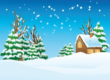 Snow-covered village royalty free illustration