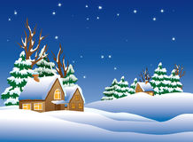 Snow-covered village. Royalty Free Stock Photography