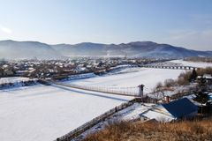 Snow-covered Village Stock Image