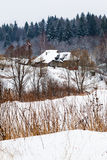 Snow covered village. Snow covered country houses on margin of a spruce forest on a winter day Royalty Free Stock Photo