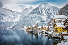 The snow covered village of Hallstatt in the Austrian Alps royalty free stock image