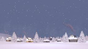 Snow covered village at snowfall Cinemagraph 4K royalty free illustration