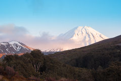 Snow covered volcano in tongariro national park. New Zealand Royalty Free Stock Image