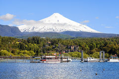 Snow covered Volcano Villarica, Chile. Villarica is one of active volcanos in. Chile Stock Photos