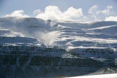 Snow-covered vulkanisch berglandschap Stock Afbeeldingen