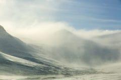 Snow-covered vulkanisch berglandschap Stock Afbeelding