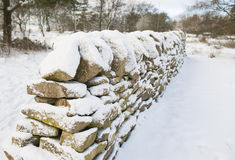 Snow covered wall in winter Royalty Free Stock Photo