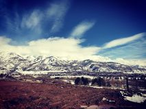 Snow covered Wasatch Mountain Range stock image