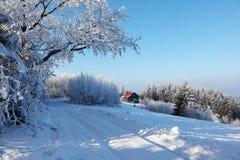 Snow-covered weg Royalty-vrije Stock Afbeelding