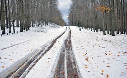 Snow covered West Virginia road - Superstorm Sandy Stock Photos