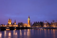 Snow Covered Westminster at Night Stock Photos