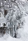 Snow-covered wicket door royalty free stock photography