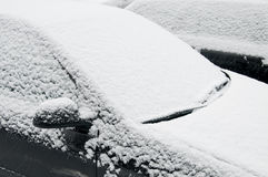 Snow covered windshield Stock Photos