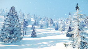 Snow covered winter fir forest at snowfall 4K royalty free illustration