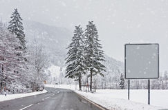 Snow-covered winter forest, Alps snowfall Stock Photos