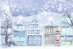 Snow-covered winter landscape in the city - Graphic painting texture Royalty Free Stock Photography