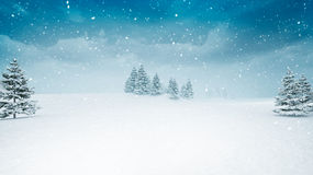 Snow covered winter landscape at snowfall. Several trees covered under snow 3D illustration Stock Photography