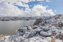 Watson Lake Prescott Arizona Winter Landscape. A snow covered winter landscape at Watson Lake Prescott arizona Royalty Free Stock Image