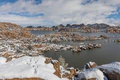 Scenic Watson Lake Prescott Arizona Winter Landscape. A snow covered winter landscape at Watson Lake Prescott Arizona Stock Image
