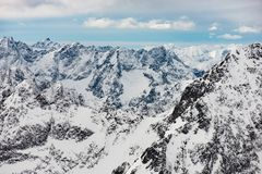 Snow covered winter mountain. Mountain range landscape. Beautiful view of winter scenery. Slovakia Stock Images