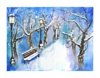 Snow-covered winter park view illustration Royalty Free Stock Photography