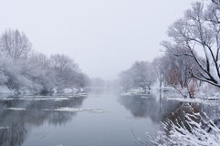 Snow-covered winter river. The snow-covered winter river stock photos