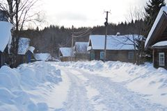 Snow covered winter road Stock Photography