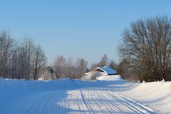 Snow covered winter road Royalty Free Stock Photo