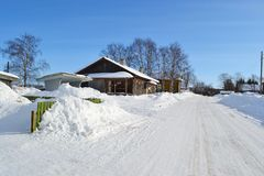 Snow covered winter road Stock Photo