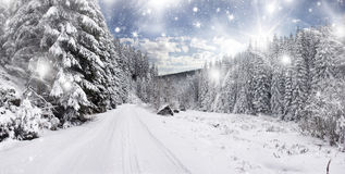 Snow covered Winter road. Winter road in the mountains Royalty Free Stock Image