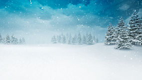 Snow covered winter seasonal landscape at snowfall. Several trees covered under snow 3D illustration Royalty Free Stock Images